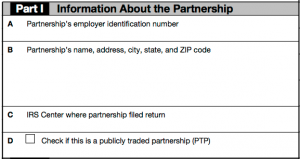 Part I of your K1 contains information about the partnership