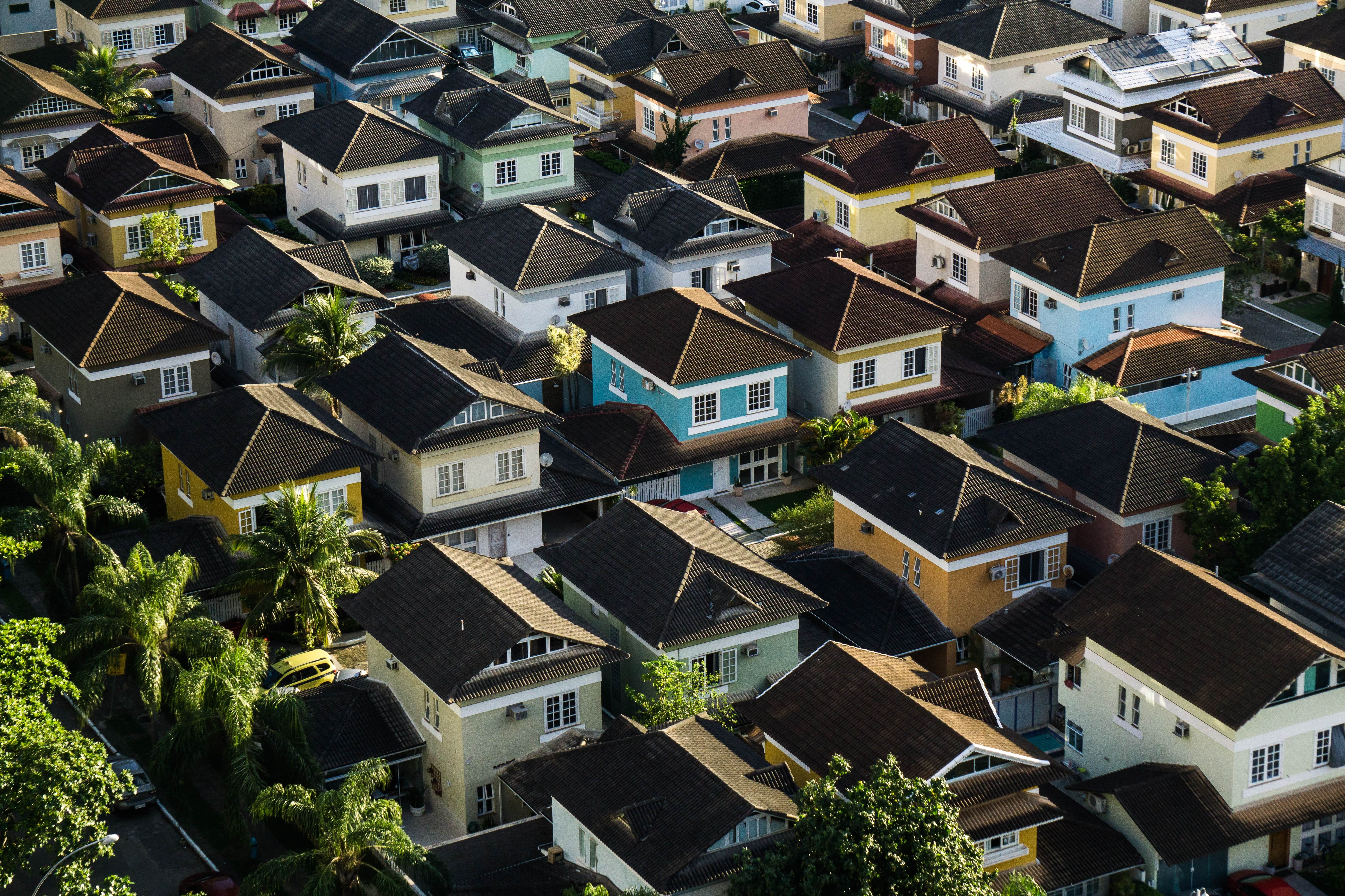 aerial view of houses - fix and flip