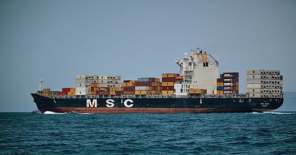 A container ship as seen on the ocean carrying cargo meant to highlight opportunities in marine finance
