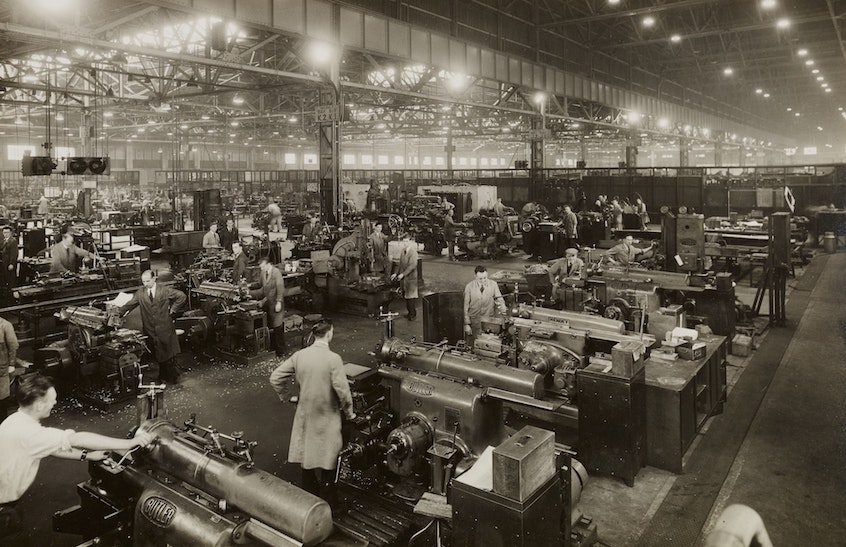 black-and-white-factory-workers-history-of-IRAs