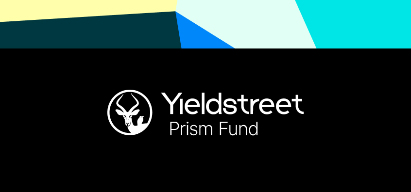 Yieldstreet Prism fund logo on black background over abstract art