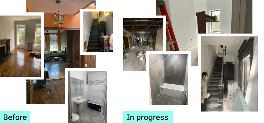 Photos comparing pre-construction and under construction conditions