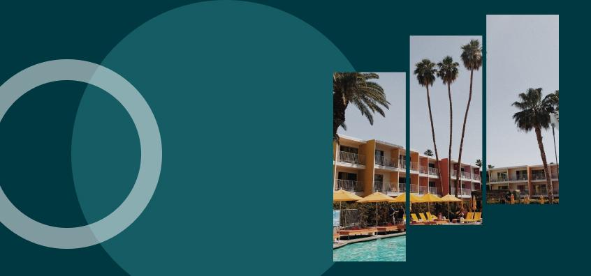 Banner showing orlando hotel portfolio over abstract art