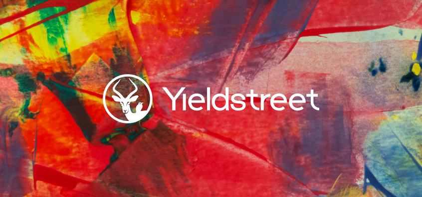 Yieldstreet oxpecker and impala logo over abstract art meant to highlight evolution of the fintech company