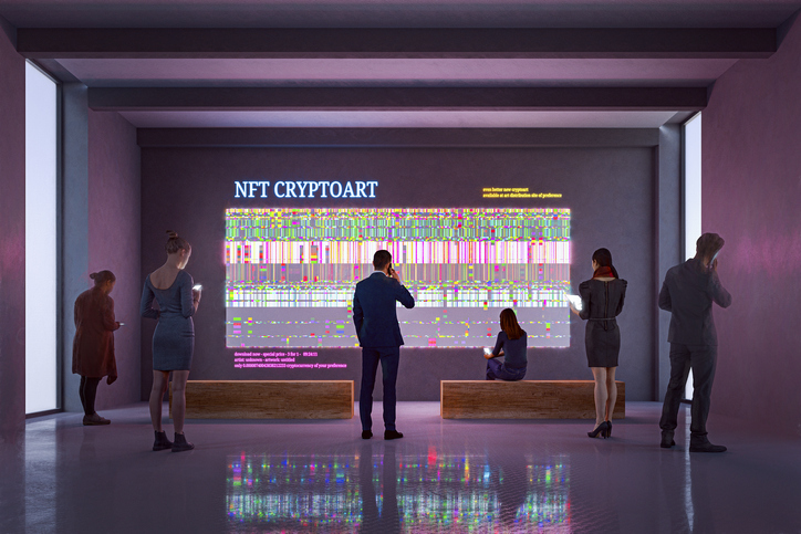 NFT CryptoArt display in art gallery with people using smart phones and digital tablets. Entrirely 3D generated image. Meant to highlight art finance opportunity
